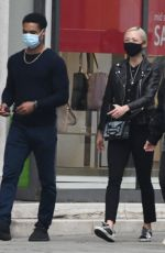 Pom Klementieff Out shopping with Simon Pegg and some friends in Venice