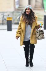 Preeya Kalidas In knee high boots and beenie hat at BBC Broadcasting Hous