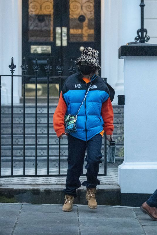 Rita Ora Dressed in warm attire whilst battling the cold London weather