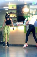 Vanessa Hudgens & GG Magree Make a pit stop at a local Juice Bar after getting in a workout at the DogPound Gym in West Hollywood