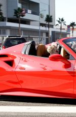 Vanessa Hudgens Leaving Dogpound gym in her red Ferrari in West Hollywood