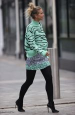 Vogue Williams Makes leggy appearance in print top and matching skirt at Heart Radio in London