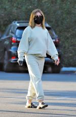 Ashley Tisdale Wears comfy sweats and a black mask as she goes on a coffee run at The Coffee Bean & Tea Leaf in Los Feliz