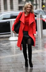 Charlotte Hawkins Looks hot in leather mini skirt and thigh high boots in London