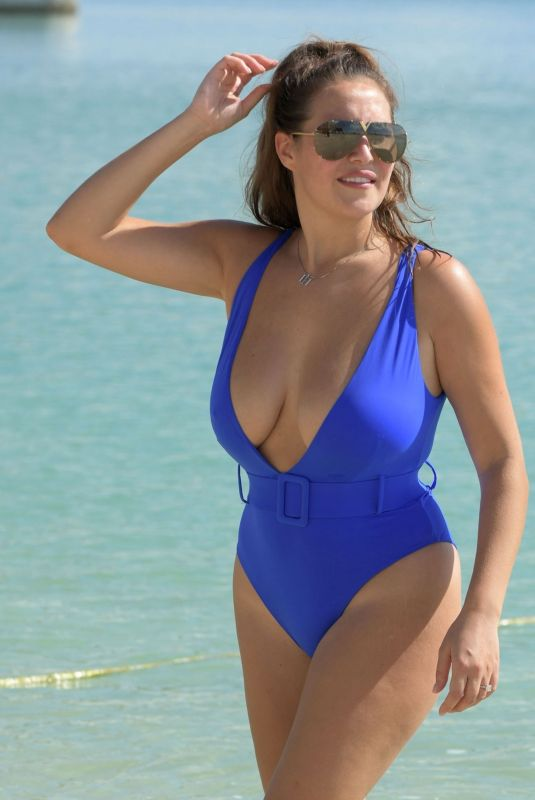 Chloe Goodman In her sexy blue swimsuit out on her holidays in Dubai