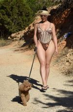 Demi Rose Mawby Out with her dog in Ibiza