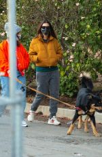 Emily Ratajkowski Takes a stroll with her friend and her dog Colombo around her Los Angeles neighborhood