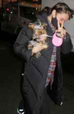 Hailee Steinfeld Walks her dog to the makeup Hair trailer in New York City
