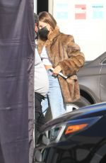 Hailey Baldwin In Beverly Hills for promoting use of animal skin and fur