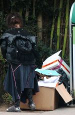 Helena Bonham Carter Seen carrying a huge pile of boxes helped by a friend to a recycle centre in Hampstead