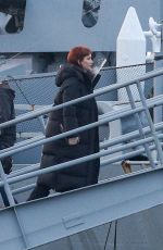 Jennifer Lawrence Heading to set on the USS Massachusetts, a Naval Battleship, for the filming of