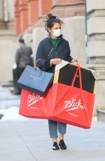 Katie Holmes Carries huge bags while Christmas Shopping in Downtown Manhattan