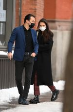 Katie Holmes Spotted out for a walk on her 42nd birthday with her boyfriend Emilio Vitolo a day after a heavy snow storm, New York