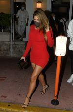 Larsa Pippen In a red mini dress as she is seen leaving Prime 112 restaurant with a friend in Miami