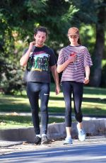 Margaret Qualley & Shia LaBeouf -Heads out for a jog in Pasadena