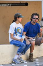 Margaret Qualley & Shia LaBeouf Seen hitting the trails before picking up lunch at Stamp foods in Los Feliz