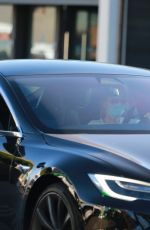 Michelle Pfeiffer Driving her Tesla Covid Style