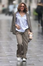 Myleene Klass Dresses for spring in a summer shirt and jacket at the Smooth Radio Studios in London