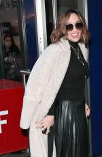 Myleene Klass Looks super chic in black top and pleated dress at Smooth radio show in London