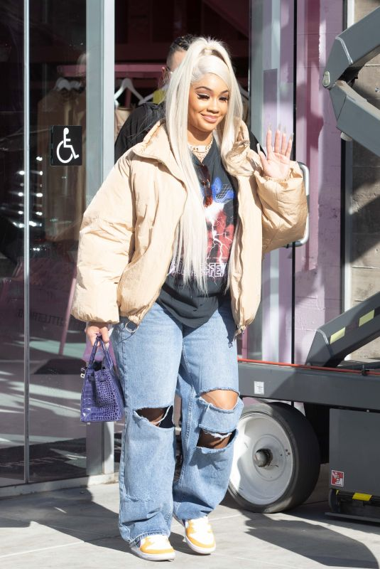 Saweetie Spotted leaving the PLT store in West Hollywood