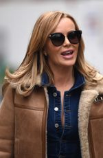 Amanda Holden Wows in denim jumpsuit at Heart radio in London