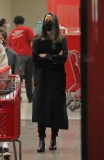 Angelina Jolie Looks chic in an all-black ensemble while out shopping at Target with her son in Los Angeles