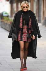 Ashley Roberts Exits the Heart Radio Studios wearing a River Island co-ord and Kurt Geiger heels in London