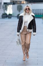 Ashley Roberts Makes a stylish exit from Heart in brown leather trousers radio in London