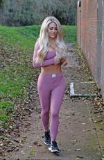 Bianca Gascoigne Shows off her pert bum and new breasts in a purple 2 piece in Kent