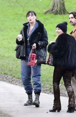 Daisy Lowe Takes her cute dog out for a walk and coffee with some friends in North London