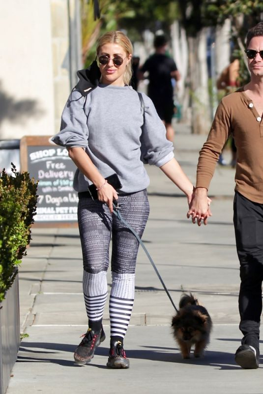 Emma Slater Takes her dogs out for a Sunday coffee run in West Hollywood