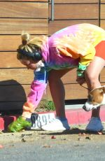 Florence Pugh Out jogging with her dog in Los Angeles