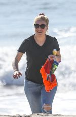 Heidi Montag (Pratt) Enjoys some quality time with her little one as they go for a walk on the beach in Santa Monica