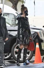 Jennifer Lopez Arrives for a photoshoot on a rainy day in Paramount, California