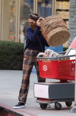 Jessica Alba Wearing Burberry plaid type pants at discount store Target in Los Angeles