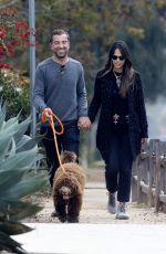 Jordana Brewster Goes for a walk around her neighborhood with her boyfriend Mason Morfit and his dog in Los Angeles
