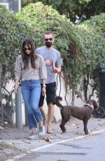Jordana Brewster Out with her dog in Brentwood