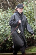 Kelly Brook Goes low key and opts for a make-up free look while walking her dog Teddy in London