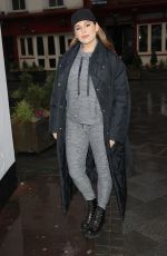 Kelly Brook Looks stunning in casuals stepping out in grey joggers and boots out in London