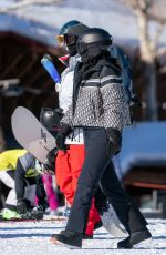 Kylie Jenner Strolls towards the Summit Express lift at Buttermilk Ski Area Saturday morning in a styling new kit in Aspen