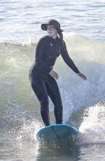 Leighton Meester Hits the beach with her husband for a morning surf session in Malibu
