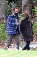 Lily Collins At Morning walk with Redford in LA