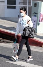Lucy Hale Picks up some coffee to go after her Monday workout in Los Angeles