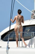 Lucy Watson In white thong bikini on a catamaran in Barbados
