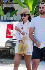 Lucy Watson Leggy in shorts out in Barbados