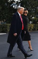 Melania Trump Make their way to board Marine One before departing from the White House in Washington