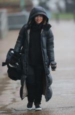Myleene Klass Looks chic in black braves the rain gears up for Dancing On Ice launch in London