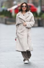 Myleene Klass Wraps up in fleece coat ahead of Dancing on Ice launch in London