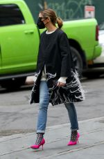 Olivia Palermo Pictured very fashionable braving the cold in pink high heels while taking a walk in Downtown, Brooklyn