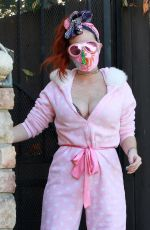 Phoebe Price Posing in a pink and white polka doted outfit in Los Angeles